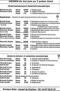 Calendrier des messes mois de juin